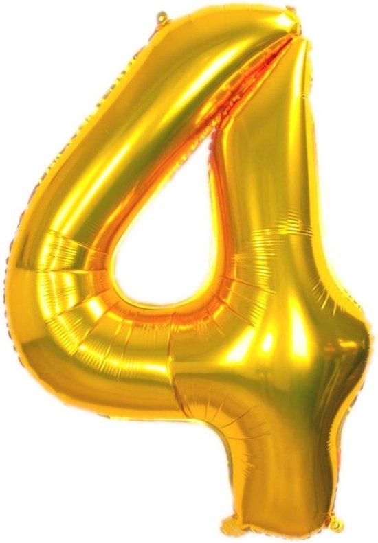 Folie Ballon Cijfer 4 Jaar Goud 36Cm Verjaardag Folieballon Met Rietje
