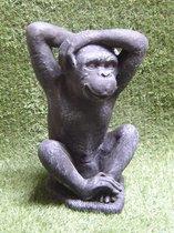 Tuinbeeld aap gorilla Grijs/ Gepattineerd - Decoratie voor binnen/buiten - Beton