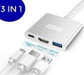 USB C Hub 3 in 1 | van USB-C naar HDMI, USB 3.0 & USB-C van ZEDAR®