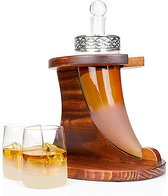 Whisiskey ® Decanteerkaraf - Ossenhoorn - Luxe Whiskey Karaf Set - 0,9 L - Incl. 9 Whisky Stones, Schenktuit & 2 Glazen