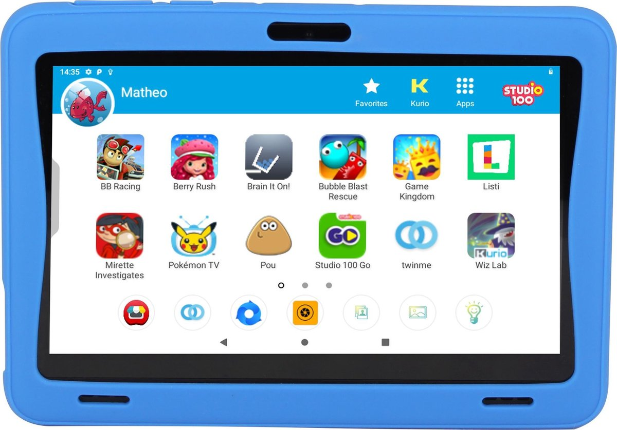 Kurio Tab Ultra Studio 100 – 16GB – Blauw – veilig kindertablet – ouderlijk toezicht – beschermende bumper