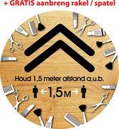 Pijl sticker, Kappers- schoonheidsspecialisten afstand houden, 1,5 meter vloersticker rond Ø 30 cm. Corona / COVID-19