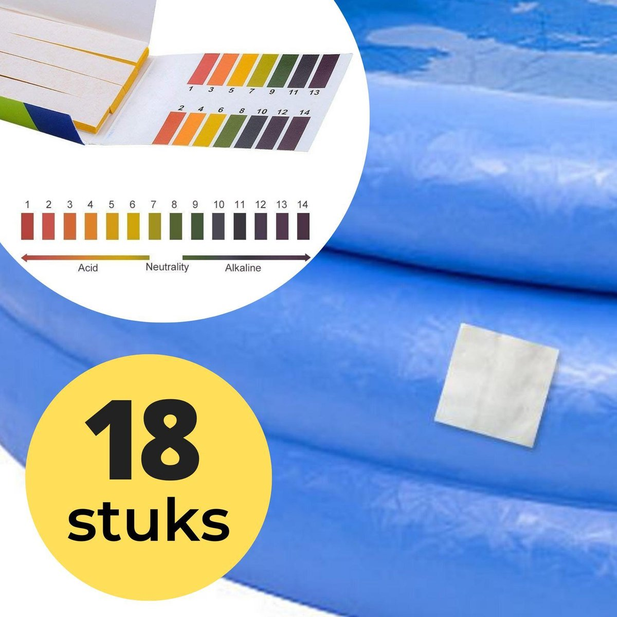 18x Zwembad Onderhoud Reparatie Set - Geschikt voor Opblaasbaar Zwembad en speelgoed met 80 PH meter strips - Pless®