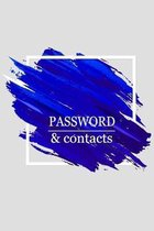 Password & Contacts: Internet Password Logbook Large Print With Tabs - Blue Watercolor Cover