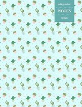 College Ruled Notes 110 Pages: Cactus Floral Notebook for Professionals and Students, Teachers and Writers - Cactus Pattern with Blue Background