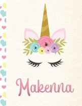 Makenna: Personalized Unicorn Primary Handwriting Notebook For Girls With Pink Name - Dotted Midline Handwriting Practice Paper