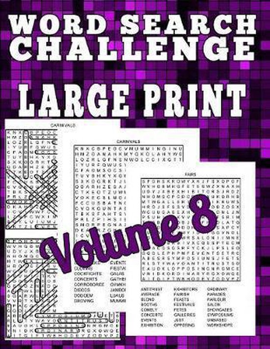 Word Search Challenge Large Print: 100 Difficult Puzzles for People Who Love Words
