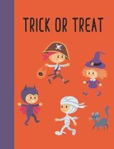 Trick or Treat: Wide Ruled Primary Composition Notebook with Fun Halloween Cover Design in Black, Orange, and Purple