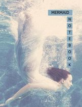 Mermaid Notebook: No.1 Blue Aegean Color Cover 8.5x11'' 100 Pages Blank Lined Composition Mermaids Book - Large Size Inspirational Diary