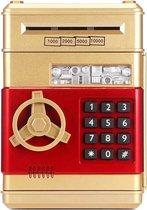 Kluis met Pincode - Speelgoed Kluis- Spaarpot Bank - Munten & Briefgeld - Automatisch Briefgeld Inname Roller- Goud
