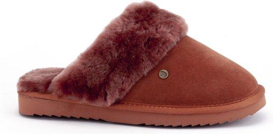 Warmbat Flurry Suede Dames Pantoffels - Rooibos - Maat 38