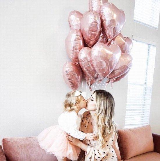 Luxe Geboorte Ballonnen set Meisje - Rose - Goud  - Folie Hart | Huwelijk - Valentijn – Marriage | Hartjes | 3 stuks – 18 inch. (45 cm) | Romantisch | Babyshower - Kraamfeest - Decoratie - Feest - Kraamtijd - Kraamborrel - Versiering - Bruiloft