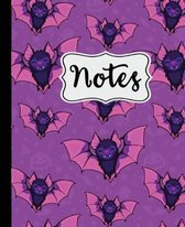 Notes: Cute Purple Bats Halloween Notebook for Kids 7.5'' X 9.25 Wide Ruled - 110 Pages