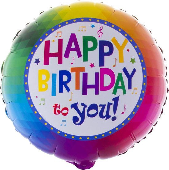 Balloon in box Happy birthday gevuld met helium