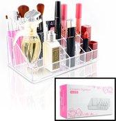 Decopatent® Make up Organizer met 16 Vakken - Makeup Organizer Transparant - Sieraden - Make-up - Cosmetica - Tafel - Opbergdoos