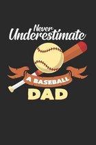Never underestimate a baseball dad: 6x9 Baseball - dotgrid - dot grid paper - notebook - notes