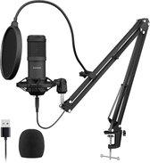 Sudotack USB Microfoon Kit - Boom Arm met Shockmount - Professionele Studio Microfoon - 192Khz/24 bit Cardioid Condensator microfoon - Popfilter - Windkap - Zuiver Geluid - Gaming/ Straming/ Podcast/ Video