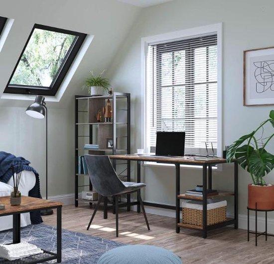 MIRA Home - Computerbureau - Laptoptafel - Industrieel - Hout/Metaal - Bruin/zwart -120x60x75