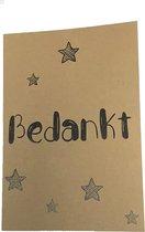 Kraft '☆ Bedankt ☆' wenskaart - incl envelop