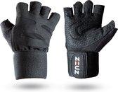 ZEUZ® Sport & Fitness Handschoenen Heren & Dames – Krachttraining Artikelen – Gym & Crossfit Training – Zwart – Maat M