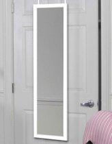 lange deur spiegel hangend | deurspiegel | Grote Hangende Visagie passpiegel Met Lijst & Deurhaak | wit frame