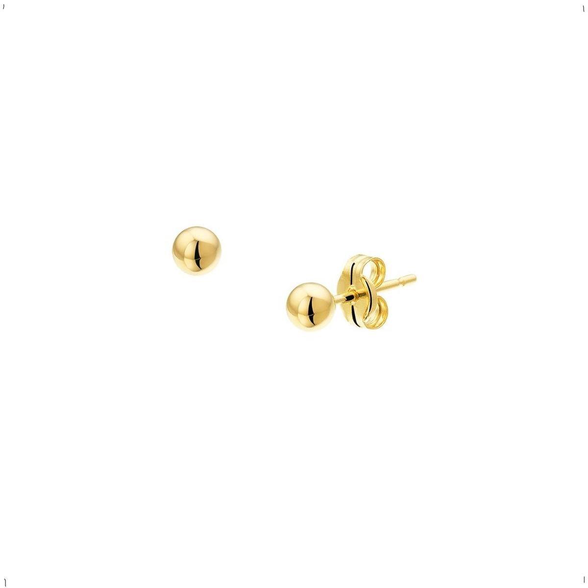 Oorbellen Dames - Goud - Oorknoppen - Bol - 5mm - Sieraden Vrouw - Heren - Poli - 0.41gr - Massief Goud - 14 Karaat - 585 Goud
