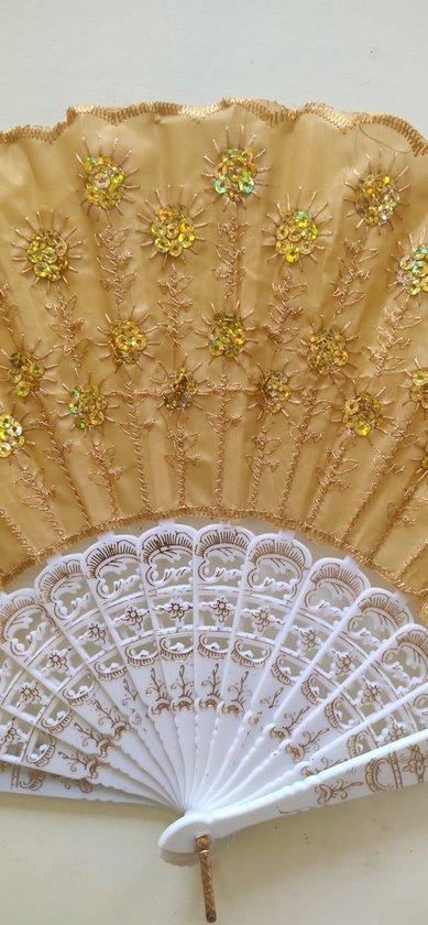Spaanse handwaaiers met borduursels en pailletten 3 stuks goud