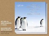 Luxe kerstkaarten met enveloppen, Pinguïns in de sneeuw - 10 stuks