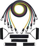 Originele 11-delige Weerstandsbanden Set - Resistance Bands - Tubes - Meerkleurig - Elastiek Met Handvaten - Krachttraining - Fitness - Thuis Sporten - Elke Spiergroep - Gym - Full Body - Gewrichten - Workout - Premium Oefeningen + Gratis Draagzak