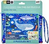 Wild & Wolf dubbelzijdige puzzel in etui met rits   Dieren in zee   100 stuks   vanaf 3 jaar