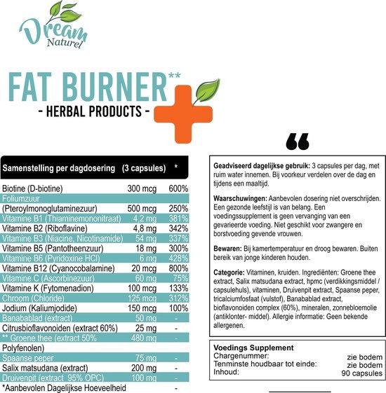 Dream Naturel Fat Burner - Afslanksupplement - 90 Capsules