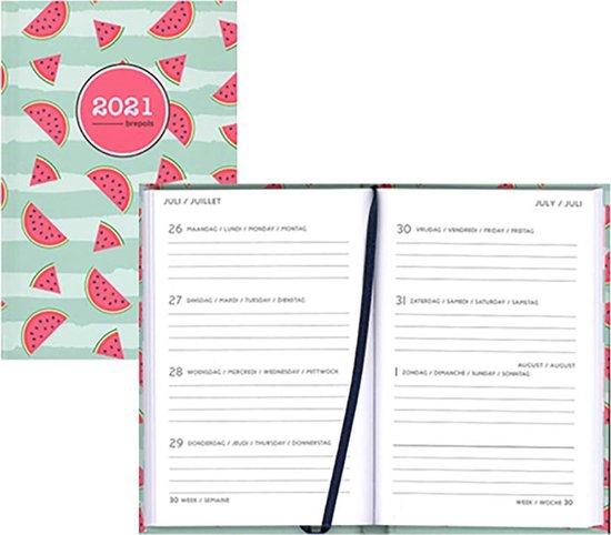 Brepols agenda 2021 - HAPPY - Pocket - Melon - Groen - 7d/1p - 10 x 15 cm