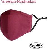 Mondkapje Wasbaar - Verstelbare Mondkapjes - Katoenen Mondmasker - Mouth Mask - Custom Design - Stoffen Mond masker - Herbruikbaar Mond Kapje - Bordeaux Rood - Qwality