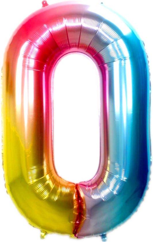 Folie Ballon Cijfer 0 Jaar Regenboog 86Cm Verjaardag Folieballon Met Rietje