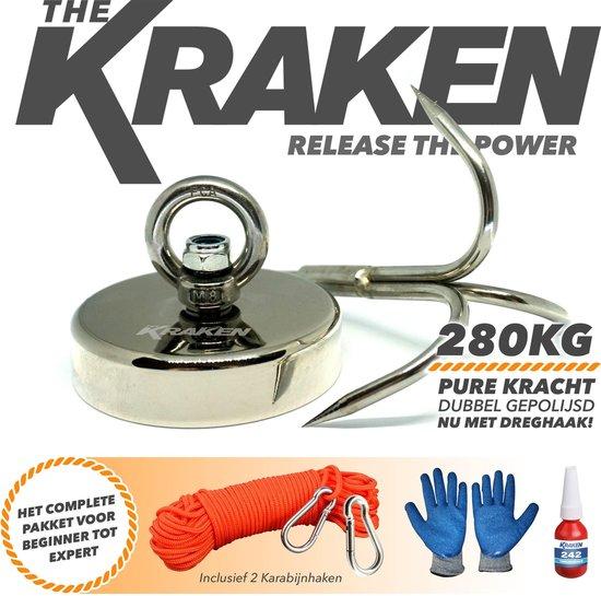 Magneet vissen- Magneetvissen the Kraken-Vismagneet 280KG- Neodymium Vis magneet kopen met dreghaak