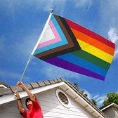 LGBT Gay Pride Progress Regenboog Vlag - Regenboogvlag - Grote Homo Rainbow Flag - 100% Polyester - Vlaggenmast Vlag UV & Weerbestendig - Met Versterkte Mastrand & Messing Ogen - 90x150 CM
