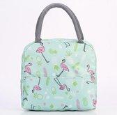 Lunchtas - Koeltas - Lunchbox - Leuke Vrolijke Picknicktas - Kinderen & Volwassenen - Flamingo Groen