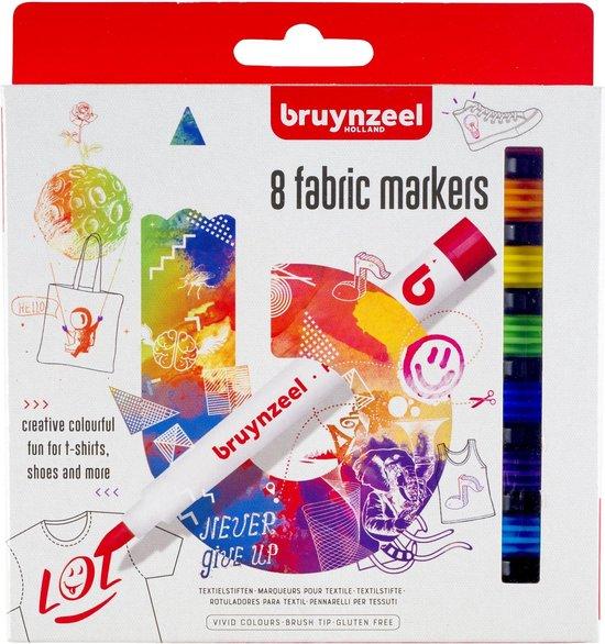 Afbeelding van Bruynzeel textielstiften - 8 stuks - fabric markers