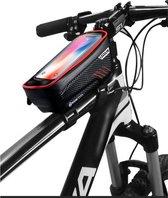 Levevis: fietstas frame polariserende laag tegen de zon – telefoonhouder fiets- MTB zadeltas racefiets – elektrische fietsen mountainbike-  tot 6,8 inch  - 160 ml – zwart met rood.