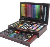GGGOODS® Tekendoos - Tekenset - tekenkoffer - kleurkoffer - tekenkist - 123 delig - schilder koffer - tekensets - tekendozen - potloden - waskrijt - stiften