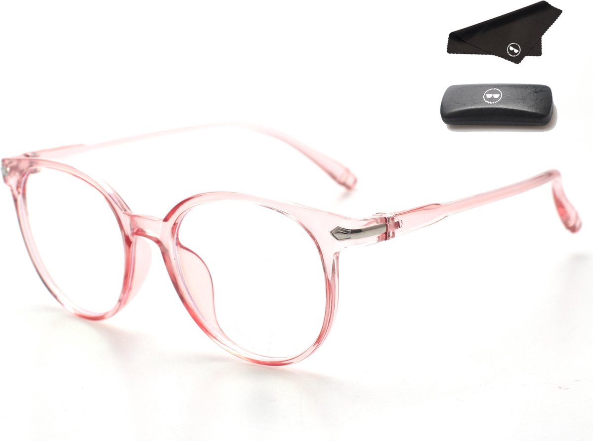 LC Eyewear Computerbril - Blauw Licht Bril - Blue Light Glasses - Unisex - Transparant Roze