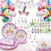 Fissaly® 142 Stuks Luxe Eenhoorn Verjaardag Decoratie Versiering – Unicorn Set – Kinderfeest – Feest