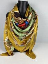 Vierkante sjieke sjaal van mooie stof 130 x 130 / 70%  viscose met 30 % zijde