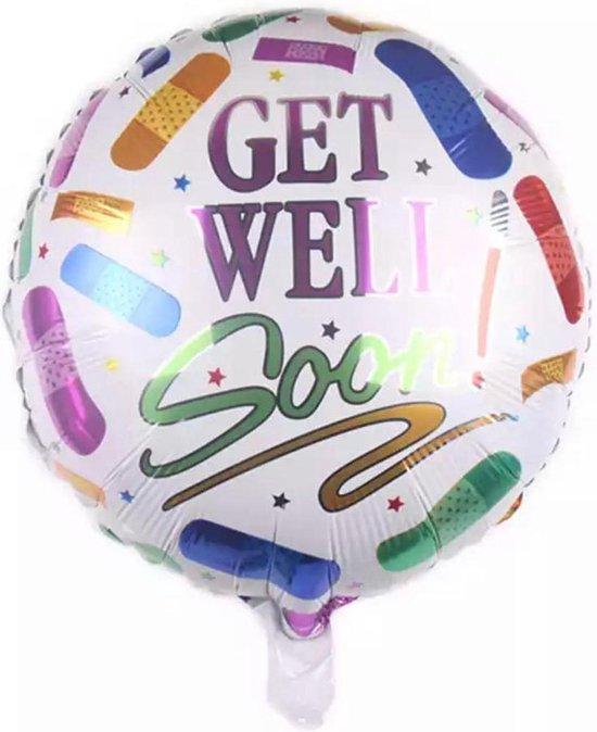 Beterschap ballon - 45x45cm - Ziekte - Get Well Soon - Opkikker - Sterkte - Follie ballon - Ballonnen - Helium ballon
