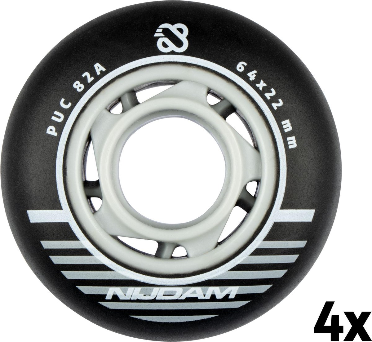 Nijdam Inline Skate Wielen Set - 64x22 mm - 4st - Black - Zwart/Zilver/Wit
