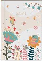 Fragile mini agenda 2021 - 8 x 12 cm klein formaat - lannoo - vogel - bloem - blauw zalm