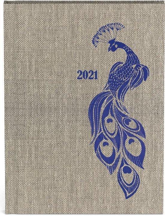 Peacock agenda 2021 - 10 x 15 cm formaat - lannoo - pauw - blauw