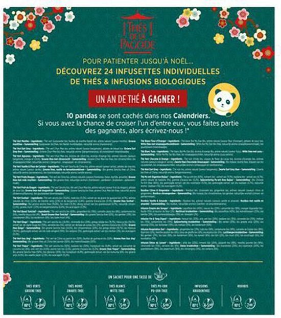 Advent- Adventskalender - Biologische Thee - Cadeau