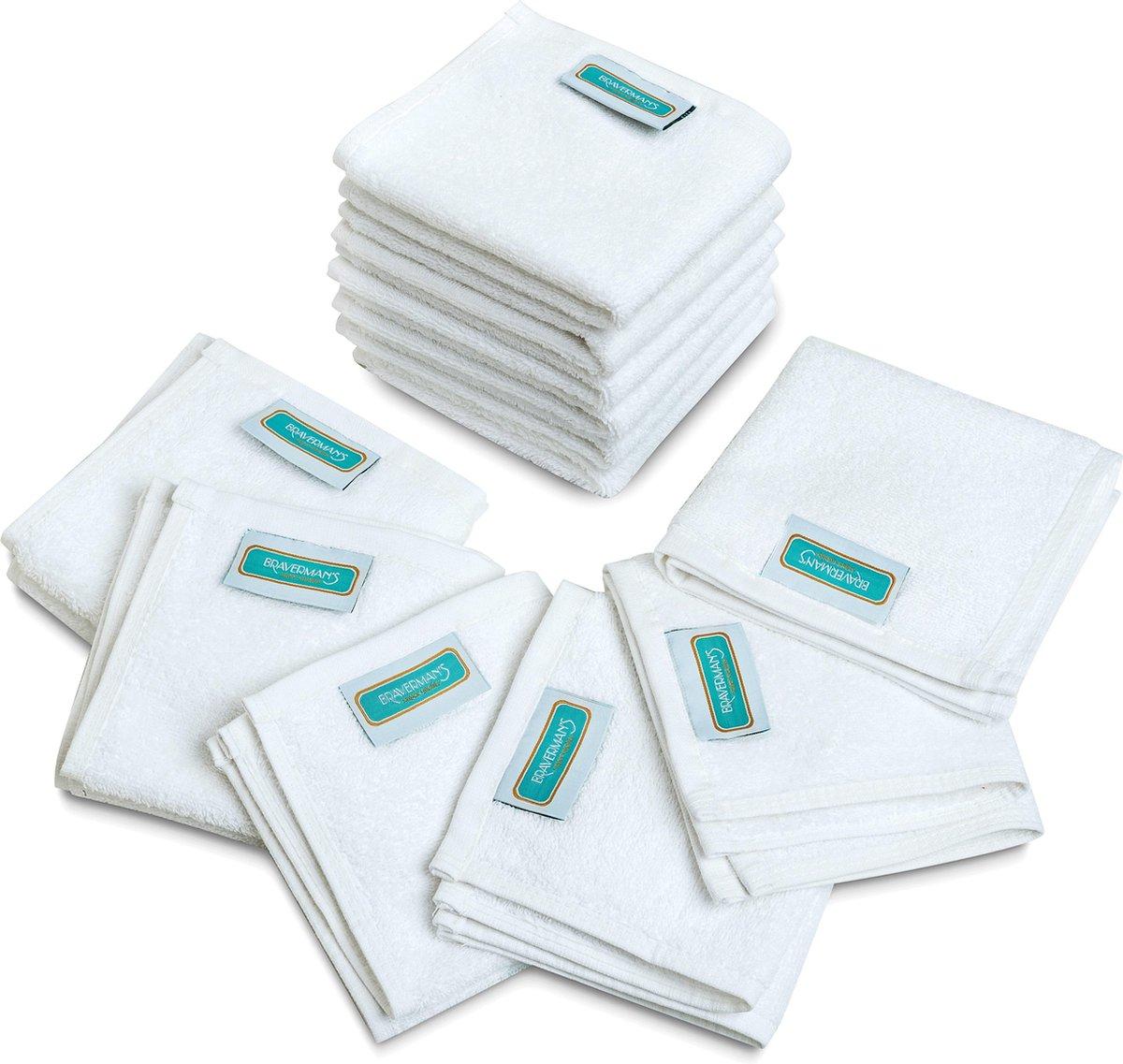 BRAVERMAN`S  Pakket van 12 Handdoek / Gasthanddoek / Gezichtsdoek 500 gr/m2 100% ORGANIC (OEKO-TEX®) Gekamde Katoen 33x33 cm (wit) - Braverman`s