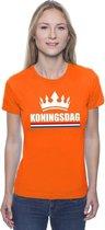 Oranje Koningsdag met een kroon shirt dames - Oranje Koningsdag kleding. M